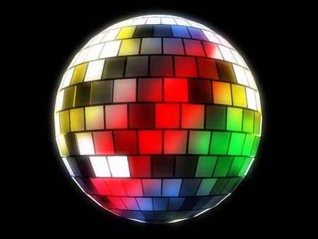 metal ball: 3d illustration of mirror disco ball over black background Stock Photo