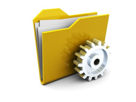 3d illustration of folder icon and steel gear wheel illustration