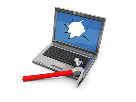 3d illustration of laptop with crashed screen and hammer Stock Illustration - 5116871