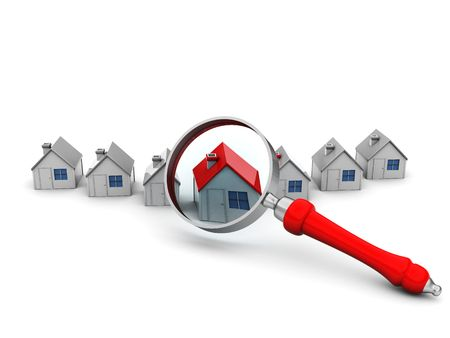 group search: 3d illustration of houses and magnify glass over white background Stock Photo