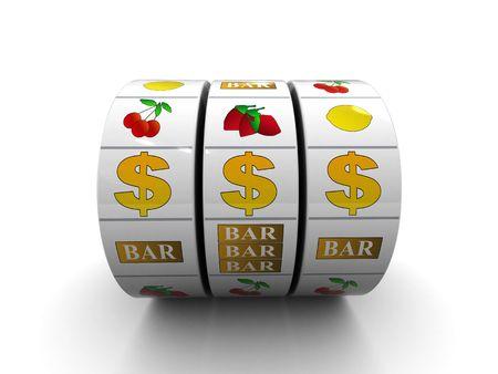 ontbering: 3d illustratie van dollar jacpot op witte achtergrond Stockfoto