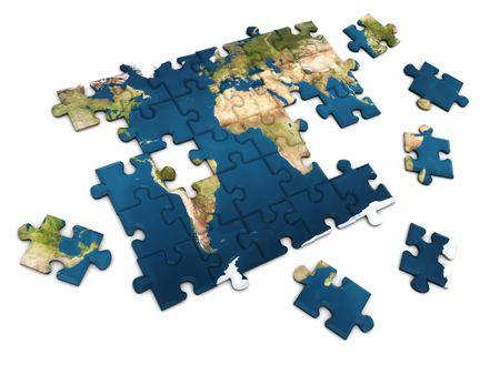 3d illustration of world map puzzle over white background illustration