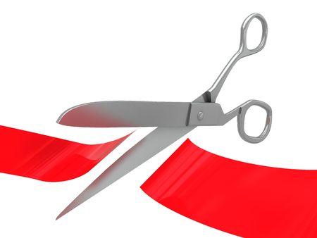 3d illustration of ceremony scissors and ribbon Stock Illustration - 5116878