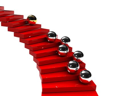 contrasts: 3d illustration of stairs and steel balls with gold leader