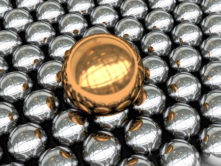 abstract 3d illustration of background with steel and gold spheres illustration