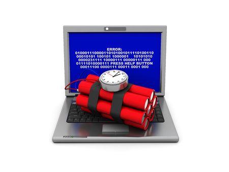 3d illustration of laptop with dinamyte over white background Stock Illustration - 5138071