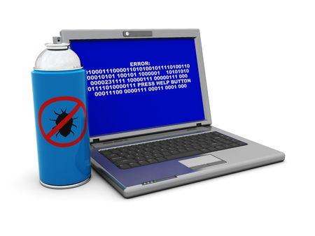 debugging: 3d illustration of laptop and anti-bug spray can