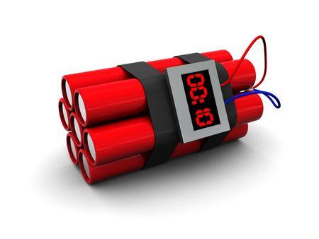 3d illustration of dynamite with timer over white background Stock Illustration - 5139871