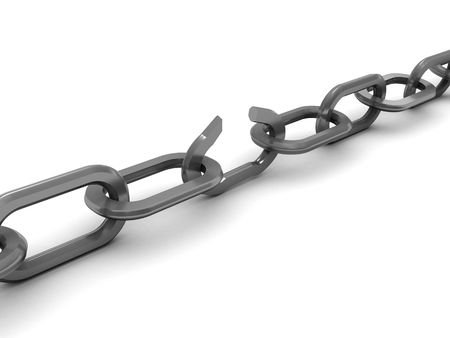 heavy risk: 3d illustration of broken chain over white background Stock Photo