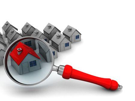 housing search: 3d illustrazione di case e di ingrandire il vetro, simbolo di ricerca per la casa