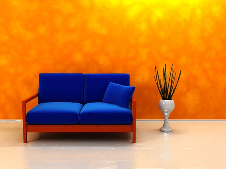 3d illustration of room interior with sofa and orange wall illustration