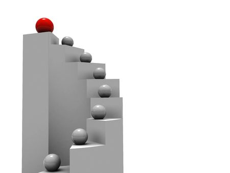 3d illustration of stairs and balls with leader at top illustration