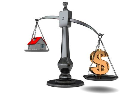 3d illustration of scale with dollar and house Stock Illustration - 5263824