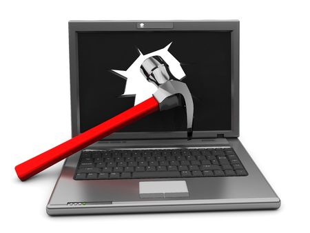 3d illustration of crashed laptop with hammer in screen illustration