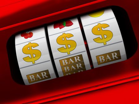 3d illustration of red slot machine with dollars jackpot illustration