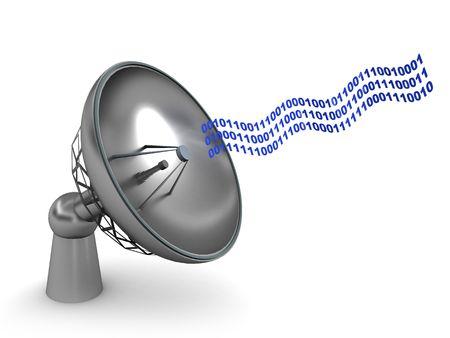 tranfer: 3d illustration of radio-aerial and digital data flow, over white background