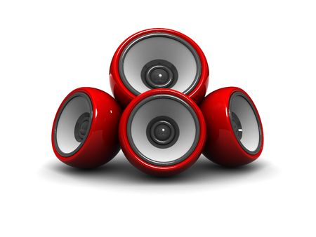 woofer: 3d illustration of audio system with red speakers