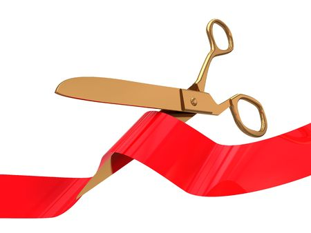 3d illustration of golden ceremony scissors with red ribbon illustration