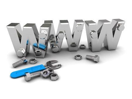 3d illustration of www text with wrench and steel nuts illustration