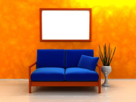 living room design: 3d illustration of interior with sofa, and blank picture on wall
