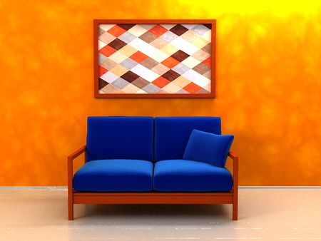 3d illustration of interior with sofa and picture on wall illustration