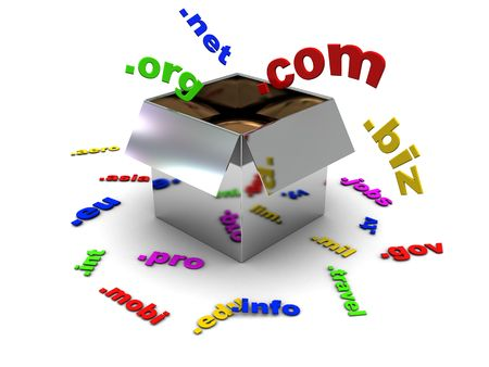 domain: 3d illustration of box with colorful domain name signs