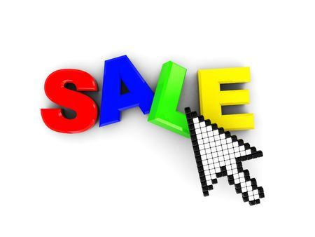 3d illustration of sale text and mouse pointer illustration