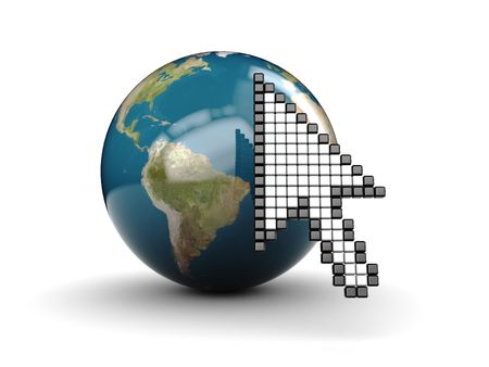 3d illustration of mouse cursor and earth globe over white background illustration