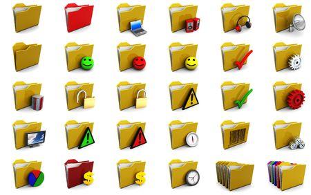 set of folder icons 3d illustrations over white background Stock Illustration - 5340273