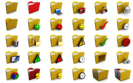 set of folder icons 3d illustrations over white background illustration