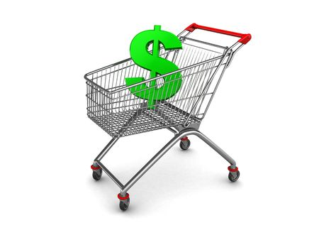 3d illustration of shopping cart with dollar sign inside illustration