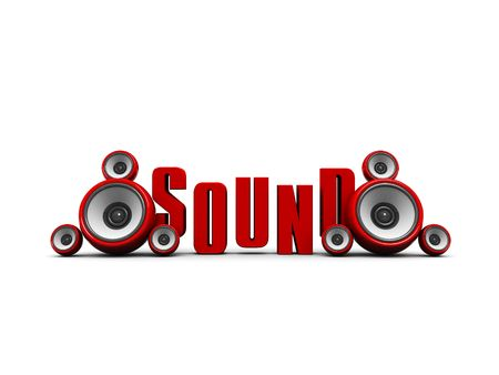3d illustration of text sound with audio speakers illustration