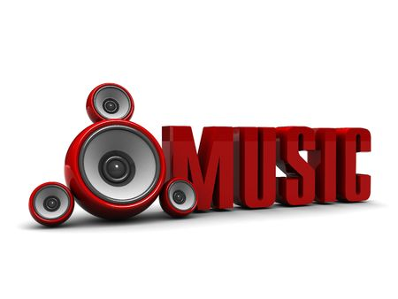 sub woofer: 3d illustration of music symbol with audio speakers Stock Photo