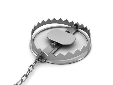 mantrap: 3d illustration of steel trap over white background