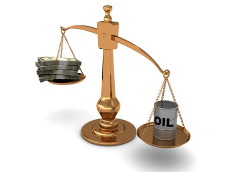 3d illustration of golden scale with oil and money Stock Illustration - 5459386