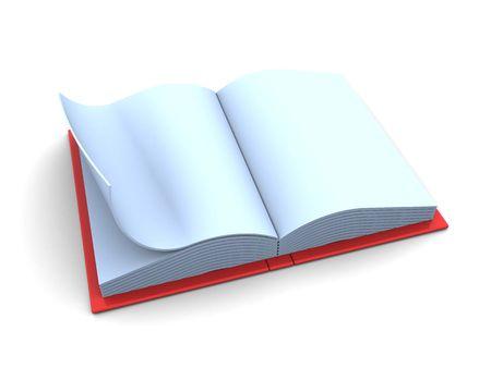 3d illustration of blank opened book over white background Stock Illustration - 5459446