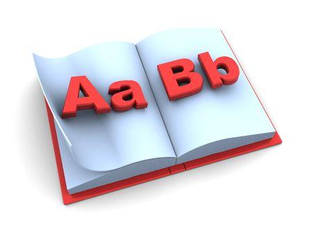 3d illustration of opened school book over white background Stock Illustration - 5459399