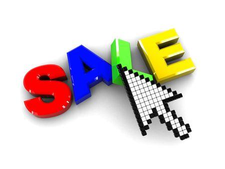 3d illustration of sale sign and mouse cursor illustration