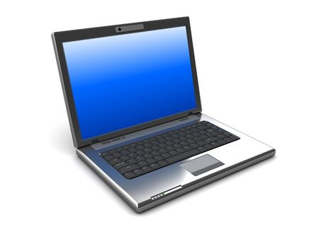 3d illustration of laptop computer over white background