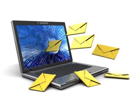 sending: 3d ilustraci�n de la computadora port�til con mensajes de correo electr�nico Foto de archivo