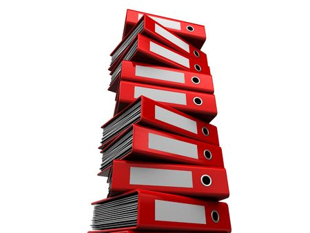 stack of files: 3d illustration of archive folders stack