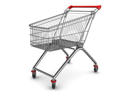 3d illustration of shopping cart over white background illustration