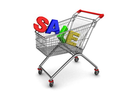 3d illustration of text sale in shopping cart, over white background illustration