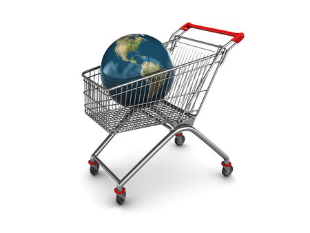 abstract 3d illustration of shopping cart with earth globe inside illustration