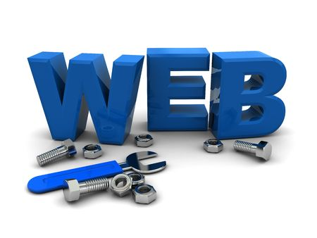 3d illustration of text web with wrench and nuts