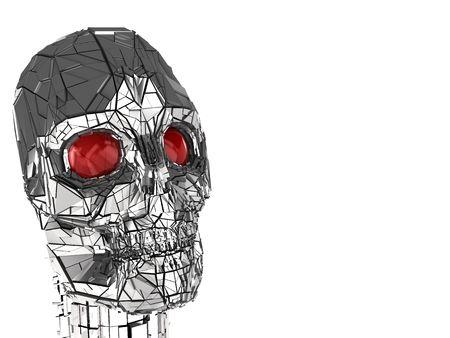 3d illustration of metal robot head over white background Stock Illustration - 5459393