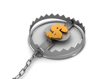 3d illustration of steel trap with dollar sign inside Stock Illustration - 5459455