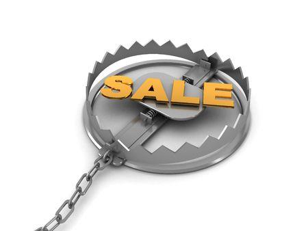 3d illustration of steel trap with sale sign inside illustration