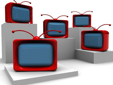 abstract 3d illustration of cartoon tv group over white illustration