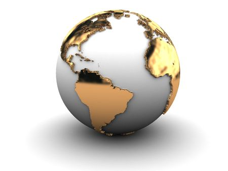 3d illustration of golden earth globe over white background